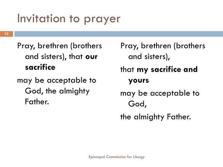 Invitation to prayer