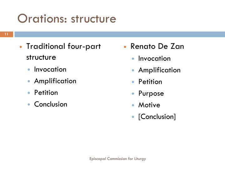 Orations: structure