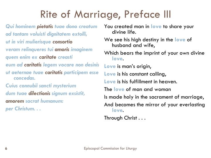 Rite of Marriage, Preface III