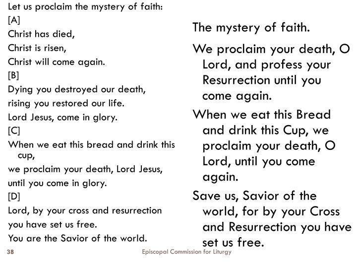 Let us proclaim the mystery of faith: