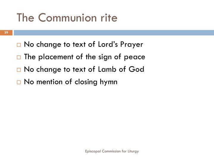 The Communion rite