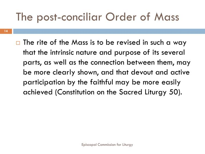 The post-conciliar Order of Mass