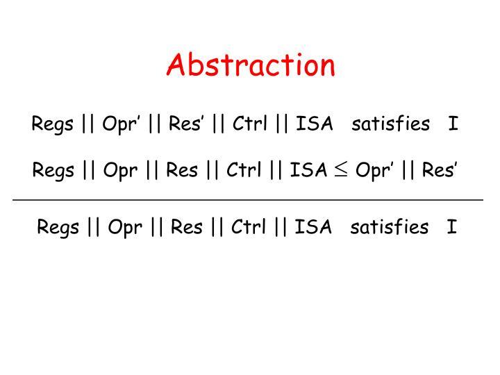 Regs || Opr || Res || Ctrl || ISA   satisfies   I