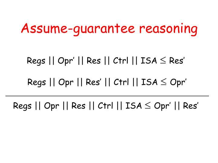 Assume-guarantee reasoning