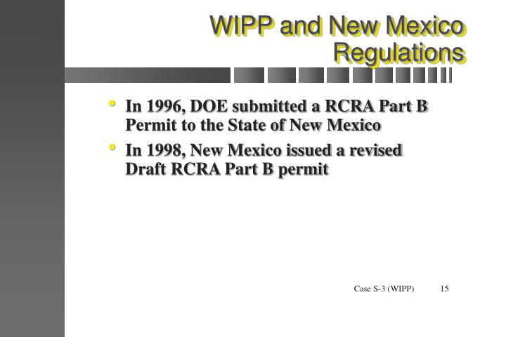 WIPP and New Mexico Regulations