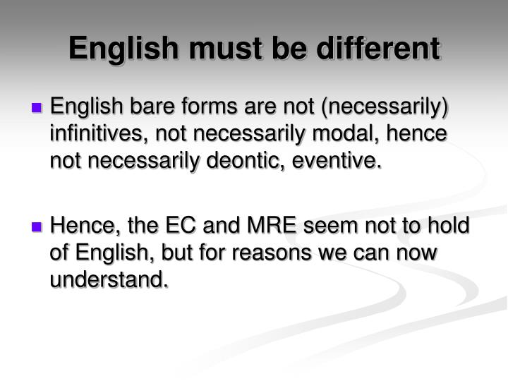 English must be different