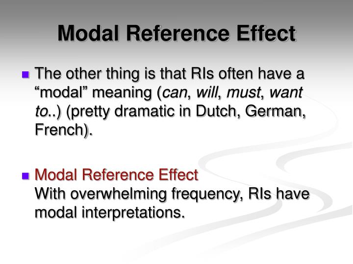 Modal Reference Effect
