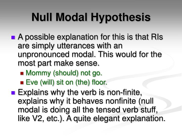 Null Modal Hypothesis