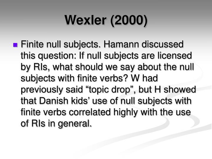 Wexler (2000)
