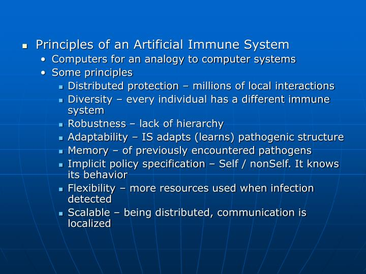 Principles of an Artificial Immune System