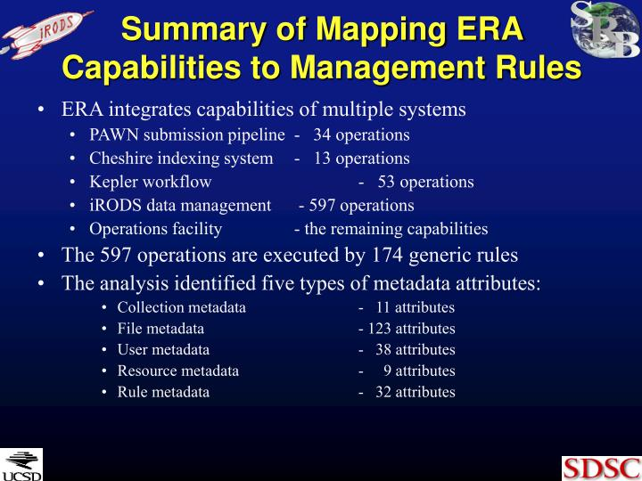 Summary of Mapping ERA Capabilities to Management Rules