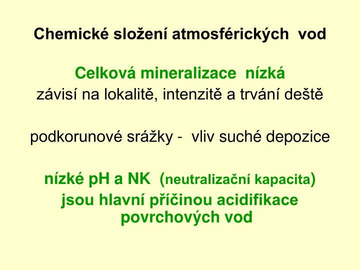 Chemické složení atmosférických  vod