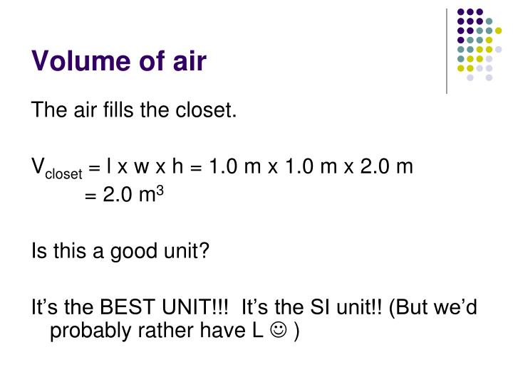 Volume of air