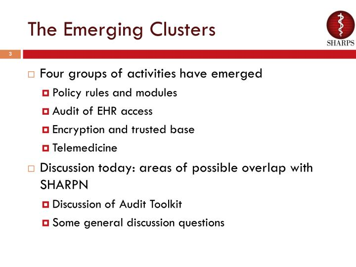 The emerging clusters