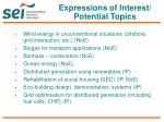 expressions of interest potential topics