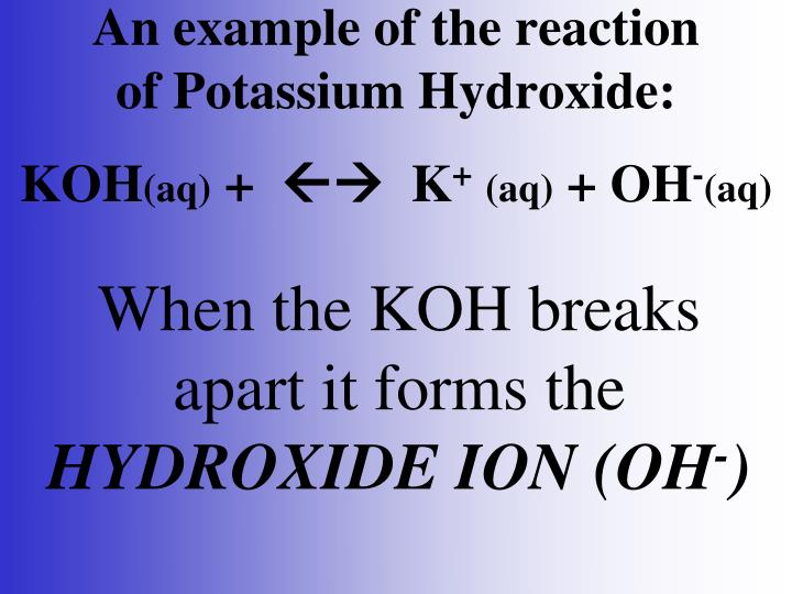 An example of the reaction