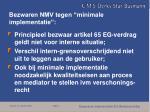 bezwaren nmv tegen minimale implementatie