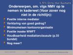 onderwerpen om vlgs nmv op te nemen in kaderwet voor zover nog niet in de richtlijn