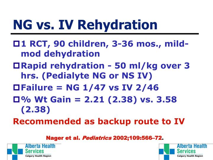 NG vs. IV Rehydration