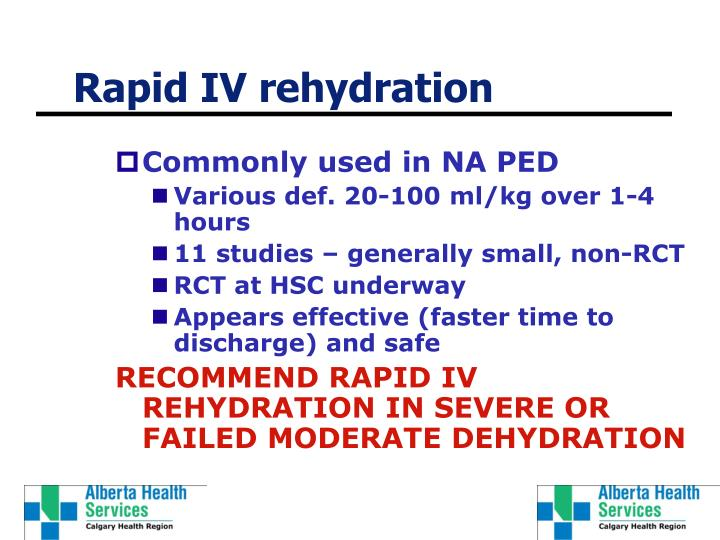 Rapid IV rehydration