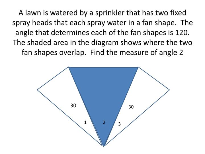 A lawn is watered by a sprinkler that has two fixed spray heads that each spray water in a fan shape.  The angle that determines each of the fan shapes is 120.  The shaded area in the diagram shows where the two fan shapes overlap.  Find the measure of angle 2