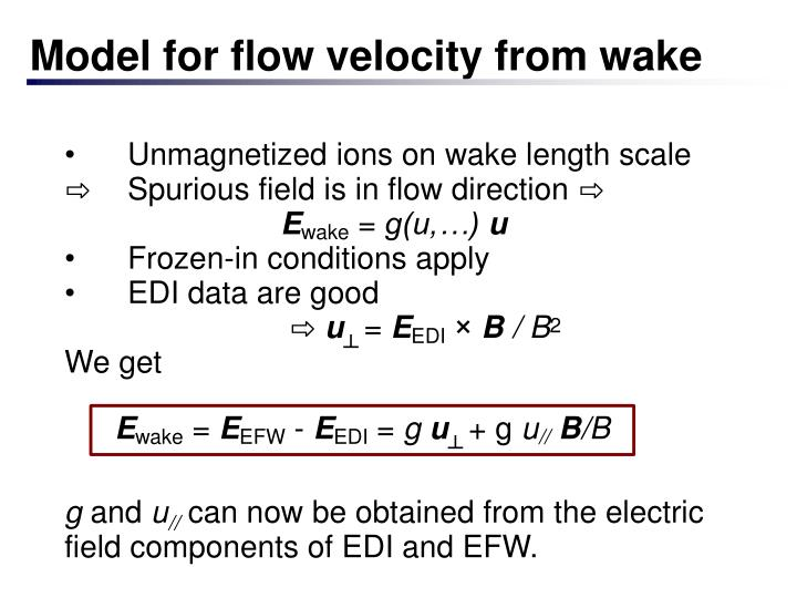 Model for flow velocity from wake