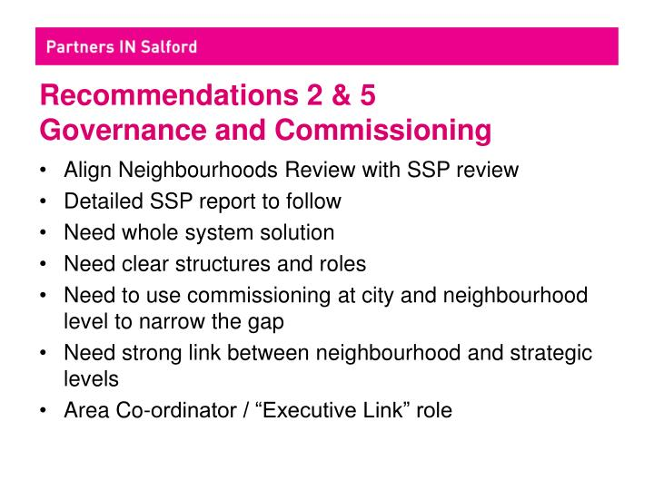 Recommendations 2 & 5