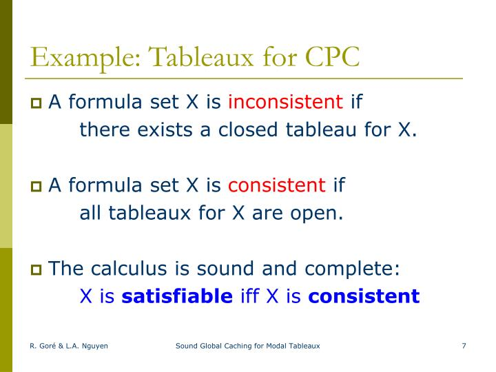 Example: Tableaux for CPC