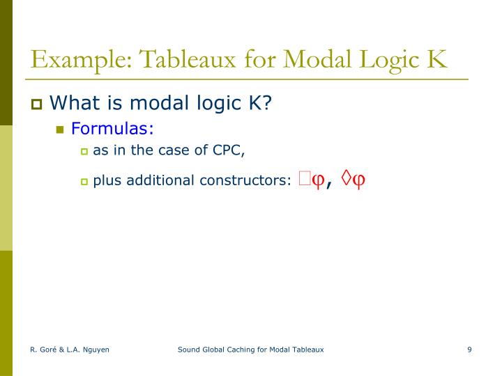 Example: Tableaux for Modal Logic K