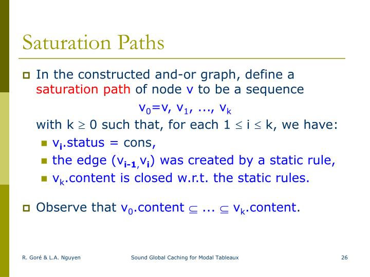 Saturation Paths