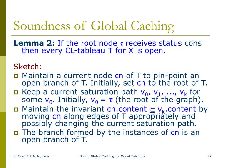 Soundness of Global Caching