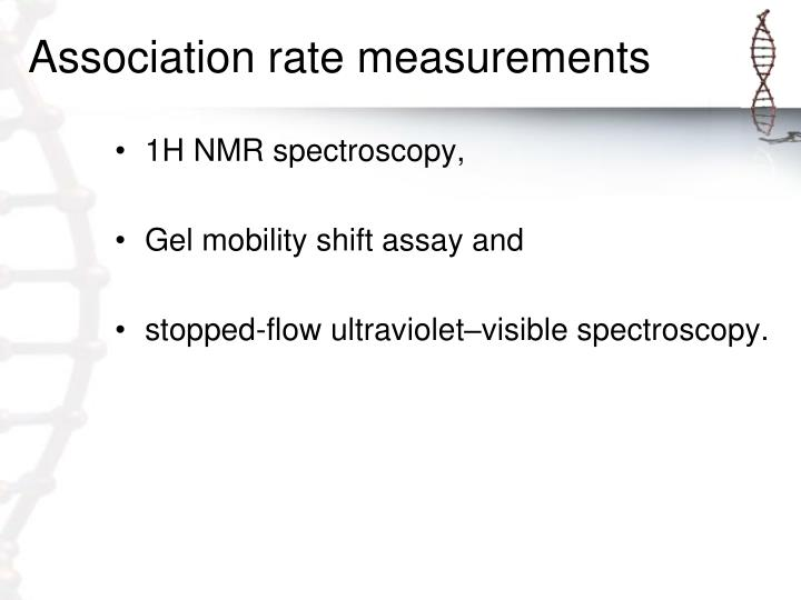 Association rate measurements
