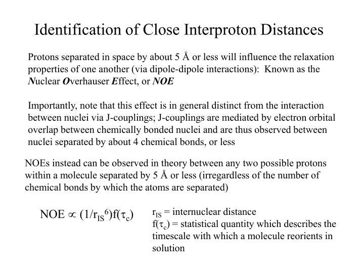 Identification of Close Interproton Distances