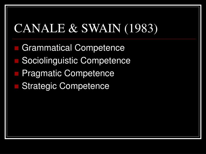 CANALE & SWAIN (1983)
