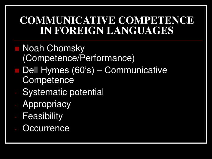 COMMUNICATIVE COMPETENCE IN FOREIGN LANGUAGES
