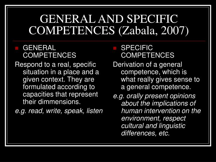 GENERAL COMPETENCES