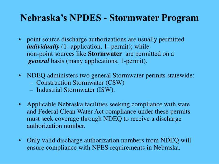 Nebraska's NPDES - Stormwater Program