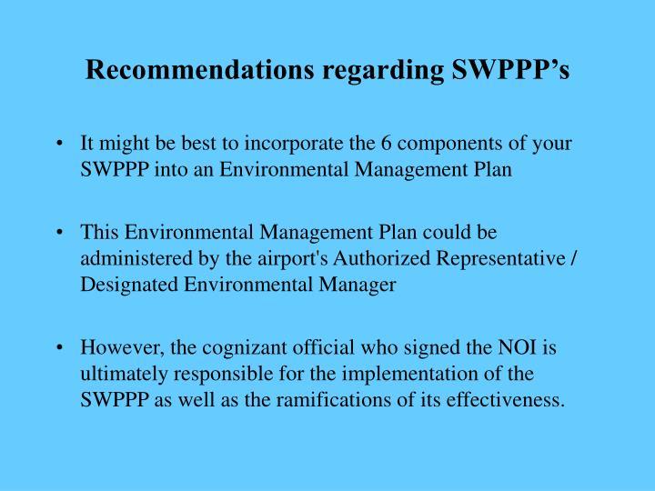 Recommendations regarding SWPPP's