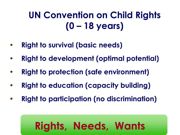 Un convention on child rights 0 18 years