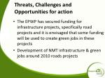 threats challenges and opportunities for action
