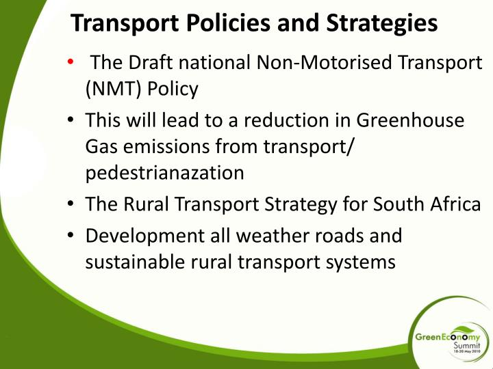 Transport Policies and Strategies