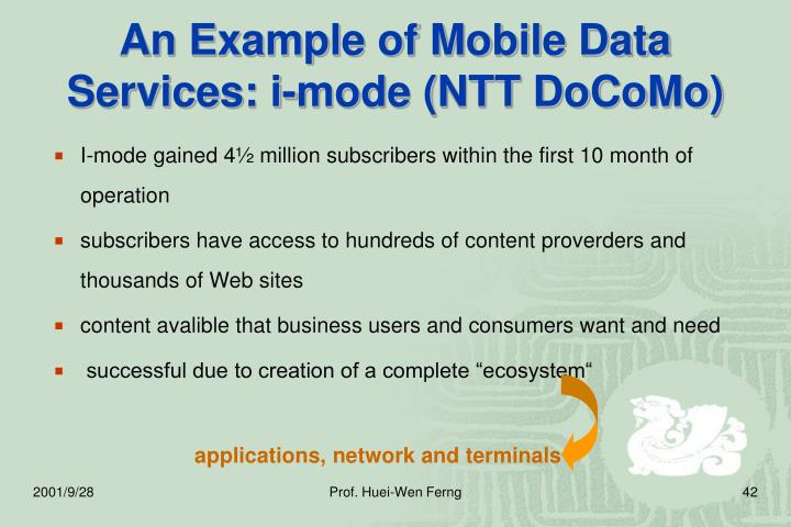 An Example of Mobile Data Services: i-mode (NTT DoCoMo)