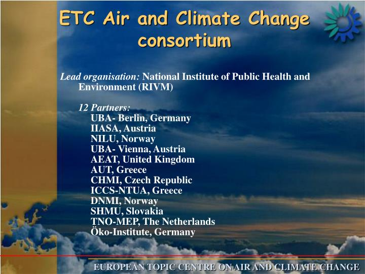 ETC Air and Climate Change consortium