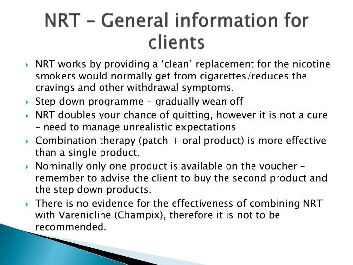 NRT – General information for clients