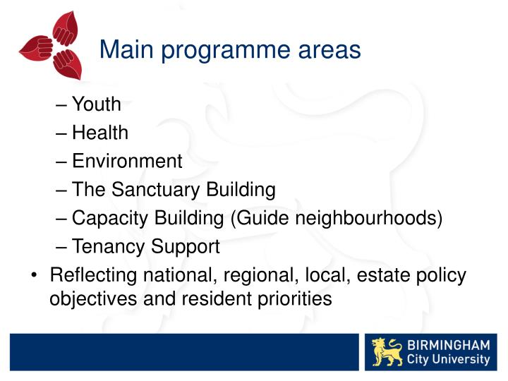 Main programme areas