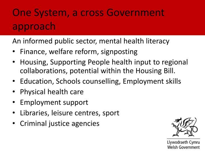 One System, a cross Government approach