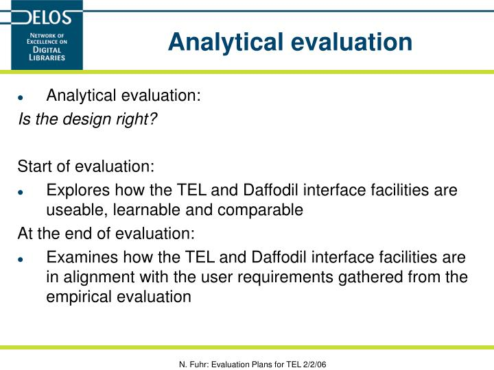 Analytical evaluation