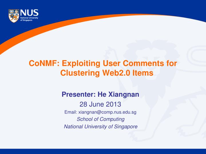 Conmf exploiting user comments for clustering web2 0 items