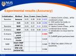 experimental results accuracy