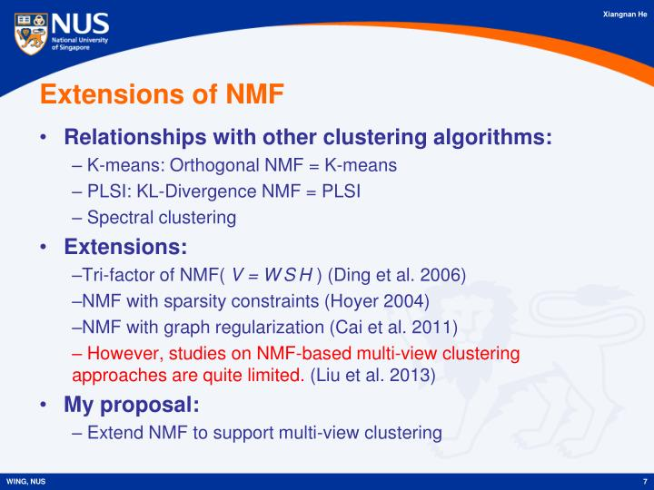 Extensions of NMF